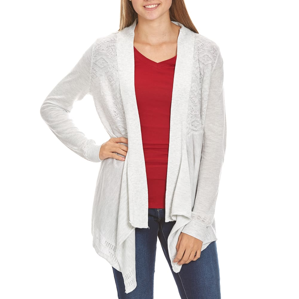 POOF Juniors' Aztec Jacquard Long-Sleeve Cardigan - WHITE HEATHER
