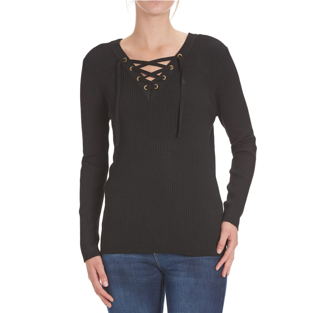 POOF Juniors' Solid V-Neck Lace-Up Rib Sweater - BLACK