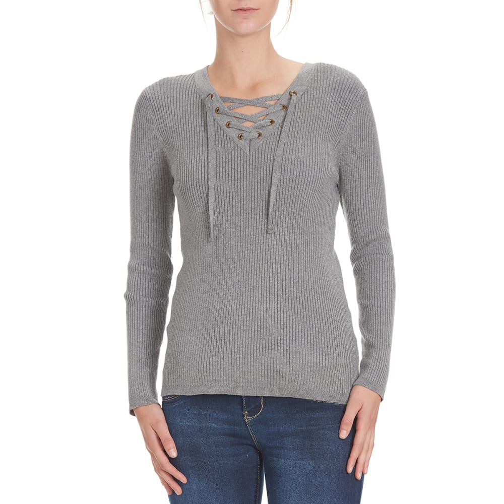 POOF Juniors' Solid V-Neck Lace-Up Rib Sweater - GREY HEATHER