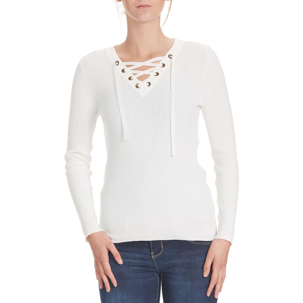 POOF Juniors' Solid V-Neck Lace-Up Rib Sweater - IVORY