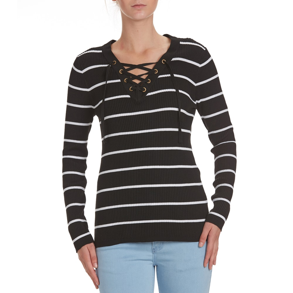 POOF Juniors' Striped V-Neck Lace-Up Rib Sweater - BLK/IVORY STRIPE