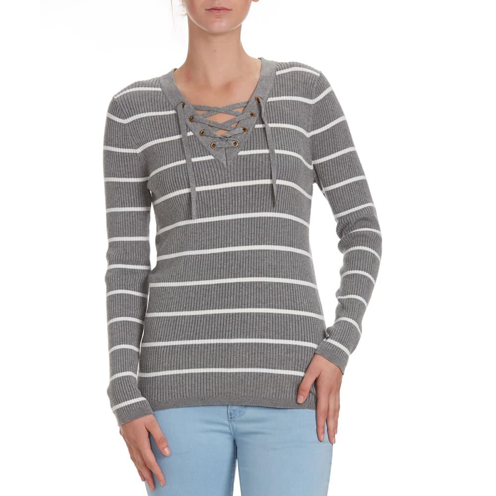 POOF Juniors' Striped V-Neck Lace-Up Rib Sweater - GREY HTHR/IVORY STRI