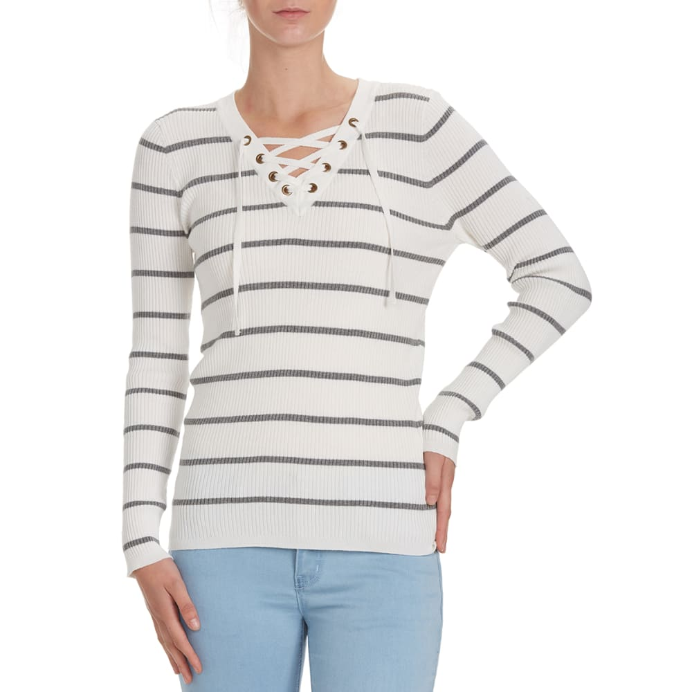 POOF Juniors' Striped V-Neck Lace-Up Rib Sweater - IVORY/GREY STRIPE