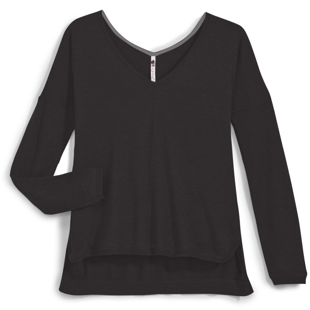 POOF Juniors' High-Low V-neck Sweater - BLACK