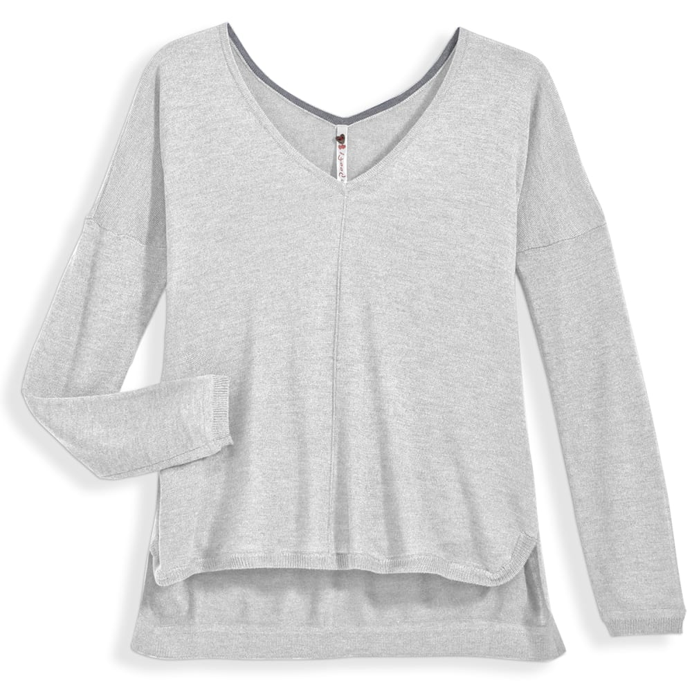 POOF Juniors' High-Low V-neck Sweater - WHITE