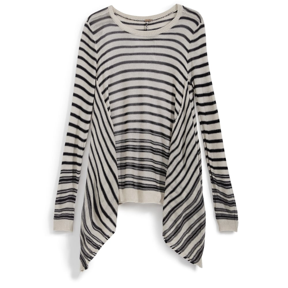 POOF Juniors' Reverse Striped Shark Bite Hem Sweater - BLACK/OATMEAL HTHR