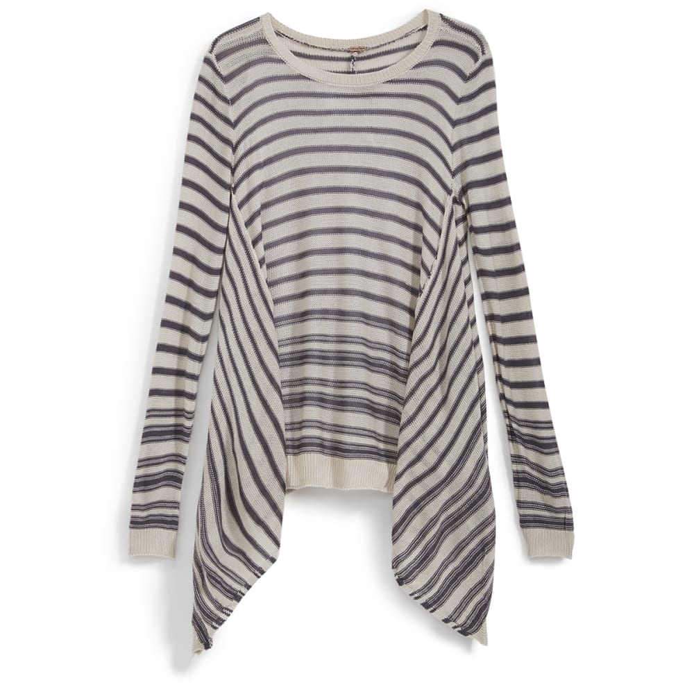 POOF Juniors' Reverse Striped Shark Bite Hem Sweater - GREY SHADOW/OATMEAL