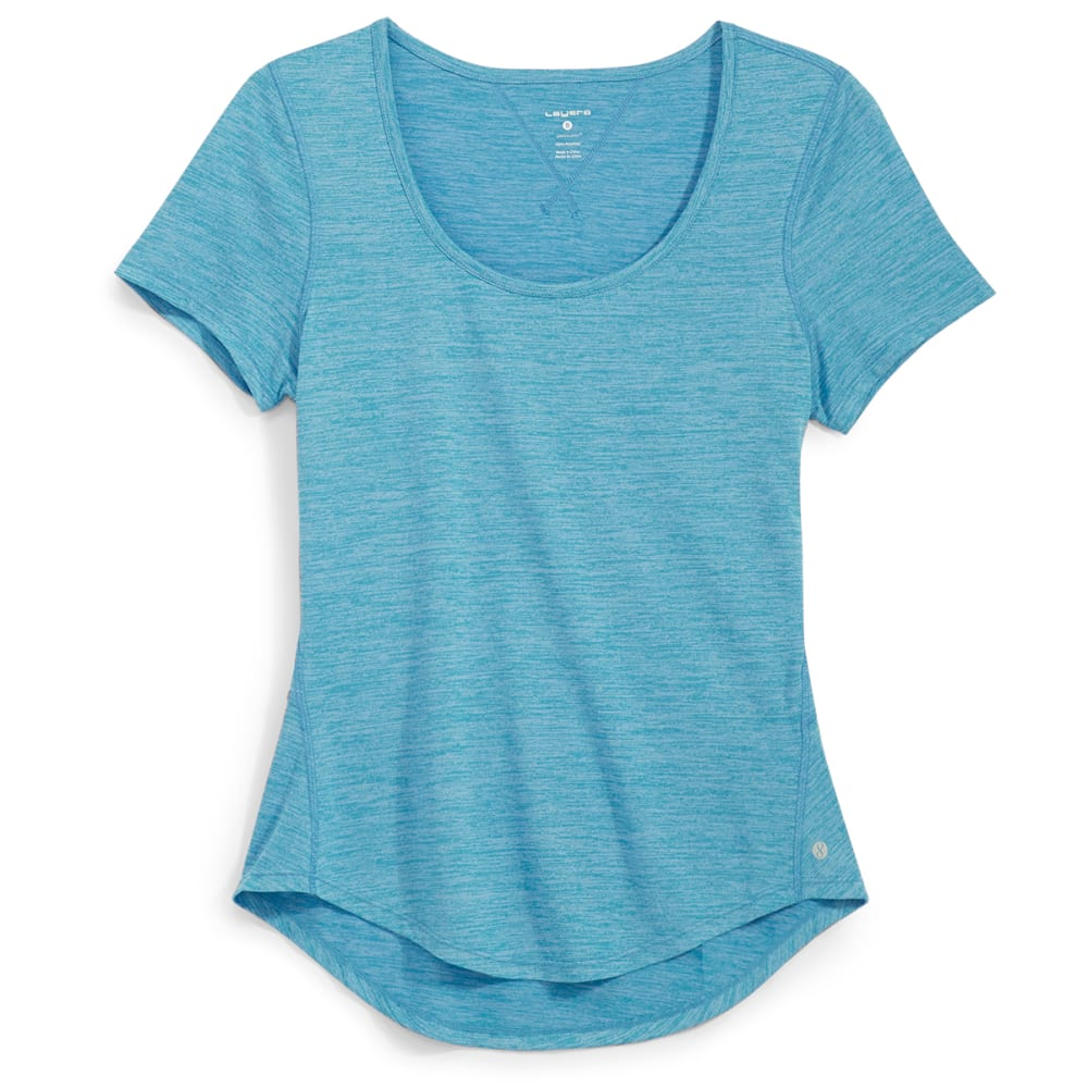 LAYER 8 Women's Scoop Neck Short-Sleeve Tee - CAPRI BREEZE