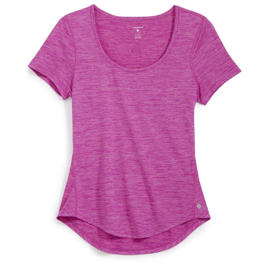 LAYER 8 Women's Scoop Neck Short-Sleeve Tee - BERRY BLAST