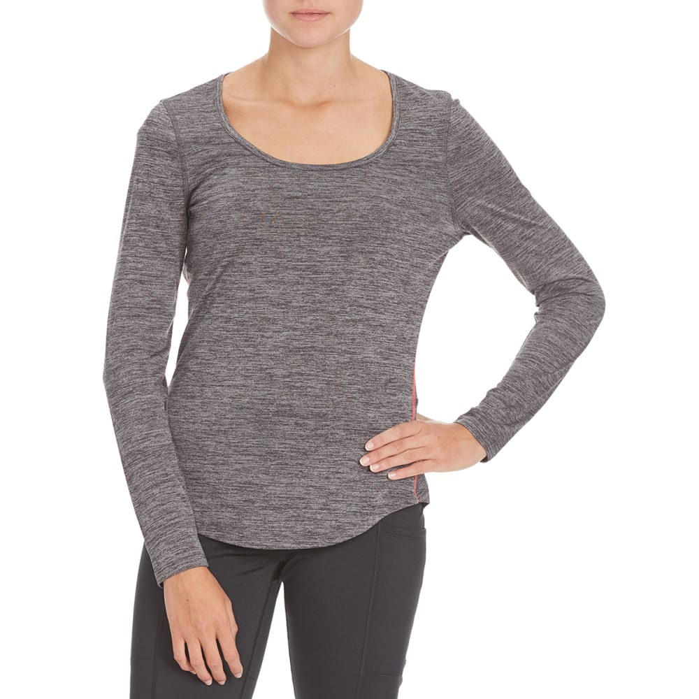 LAYER 8 Women's Long-Sleeve Scoop Neck Tee - CHARCOAL