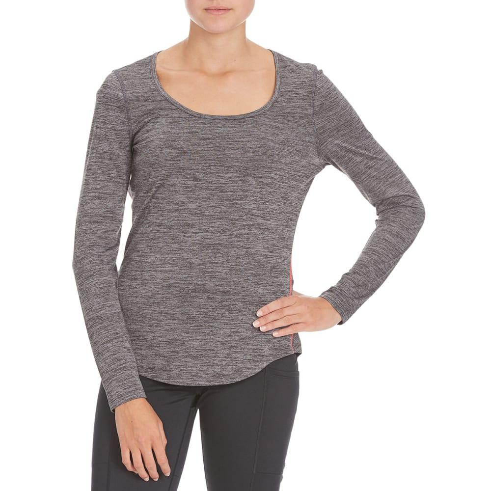 LAYER 8 Women's Long-Sleeve Scoop Neck Tee - CHARCOAL