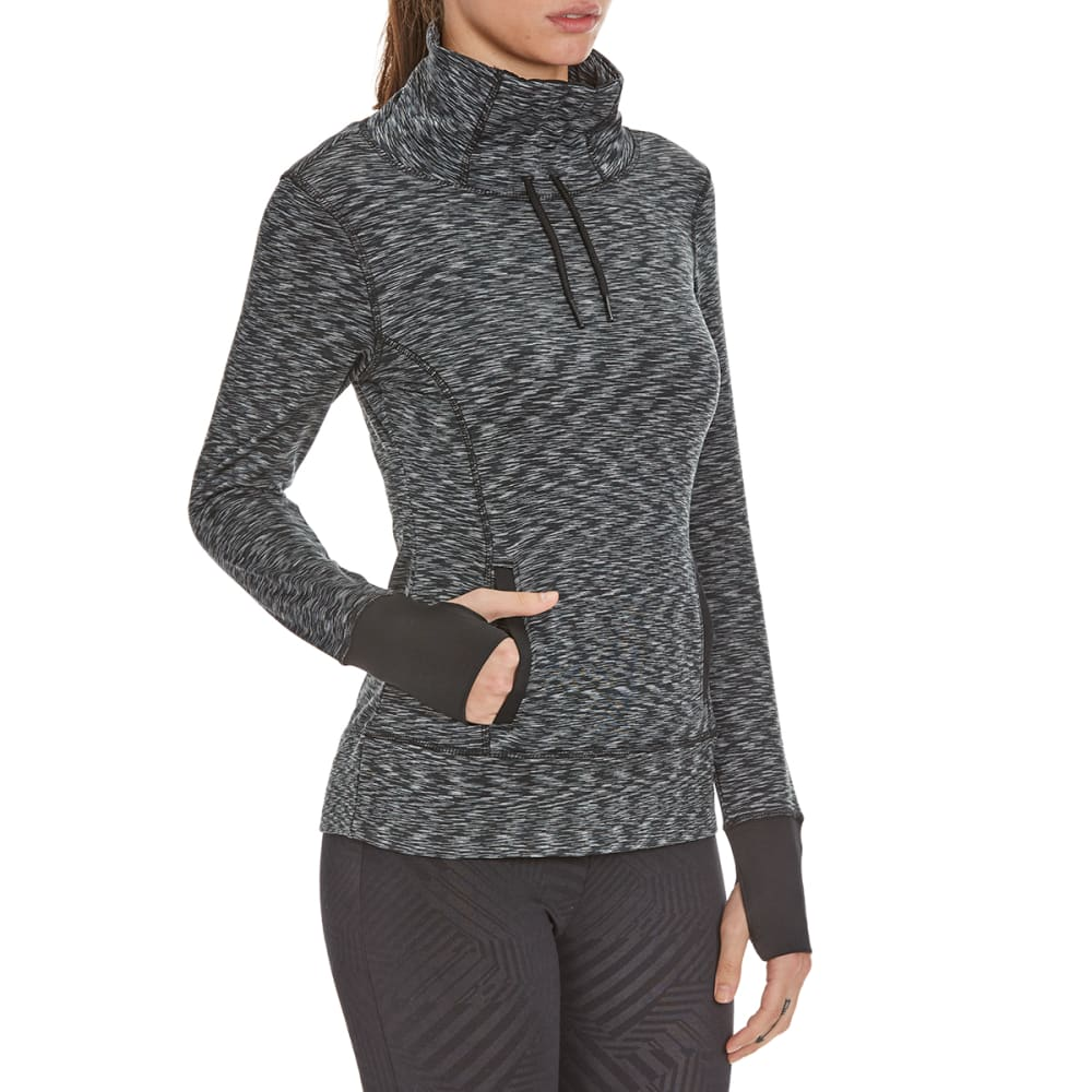 LAYER 8 Women's Cowl Neck Front-Tie Heather Top - GREY/BLACK
