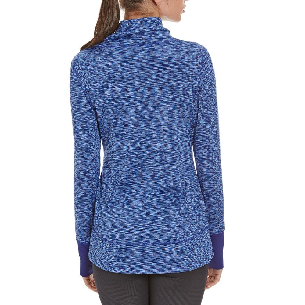 LAYER 8 Women's Cowl Neck Front-Tie Heather Top - GRAPE BLUE