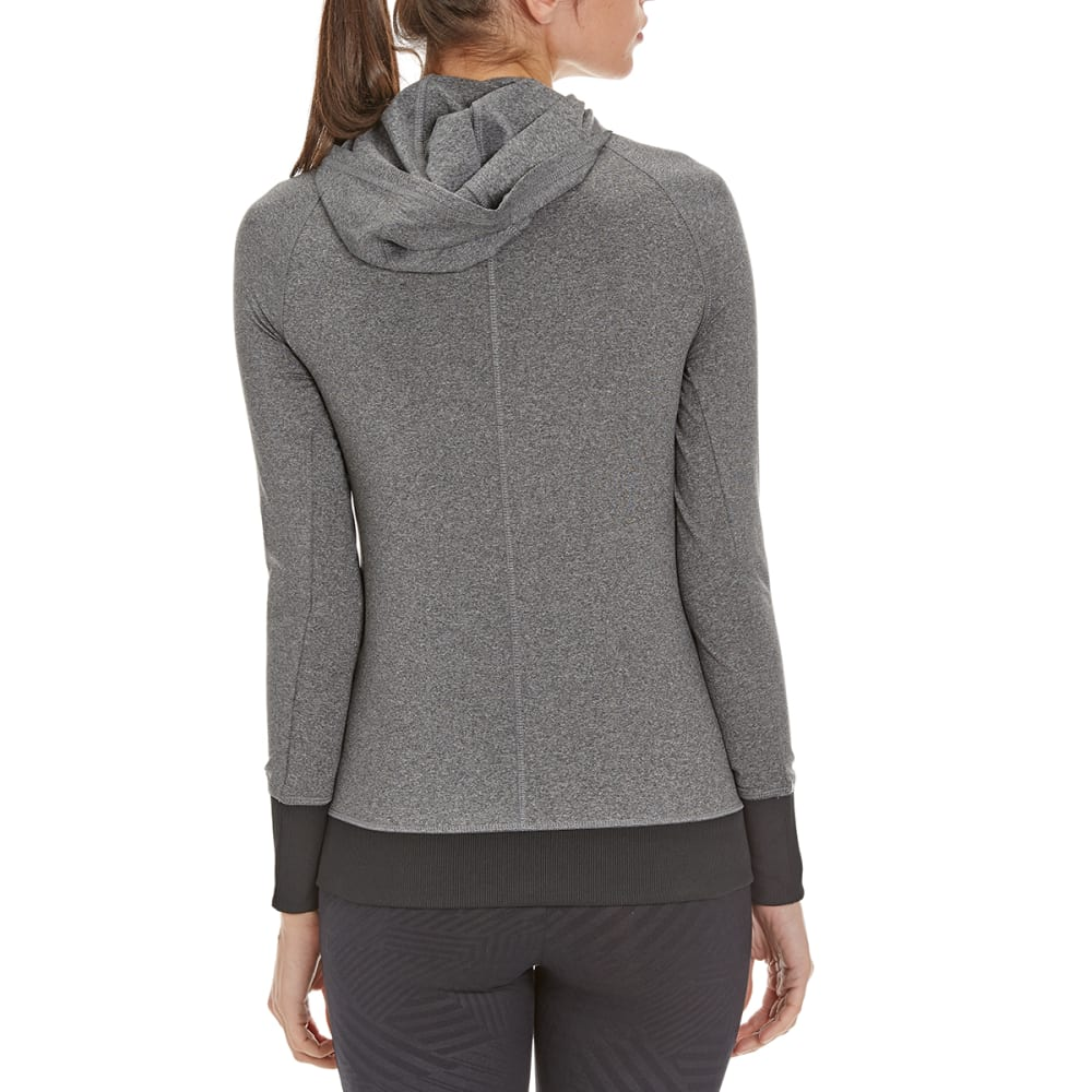 LAYER 8 Women's Cold Gear Double Side Zip Hooded Shirt - CHARCOAL