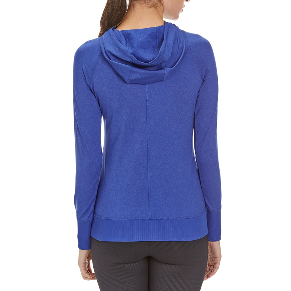 LAYER 8 Women's Cold Gear Double Side Zip Hooded Shirt - BAHAMIAN BLUE HTR