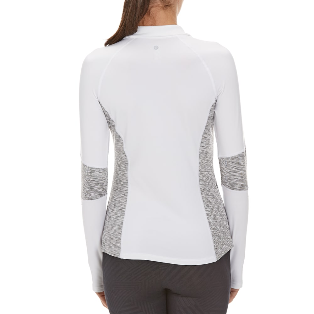 LAYER 8 Women's Cold Gear ¼-Zip Side Panel Shirt - WHITE/SILVER