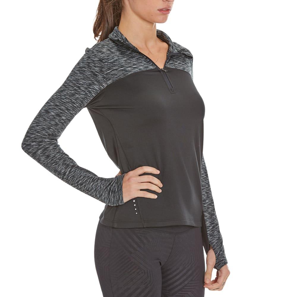 LAYER 8 Women's Cold Gear ¼-Zip Top Panel Shirt - RICK BLACK/CHAR