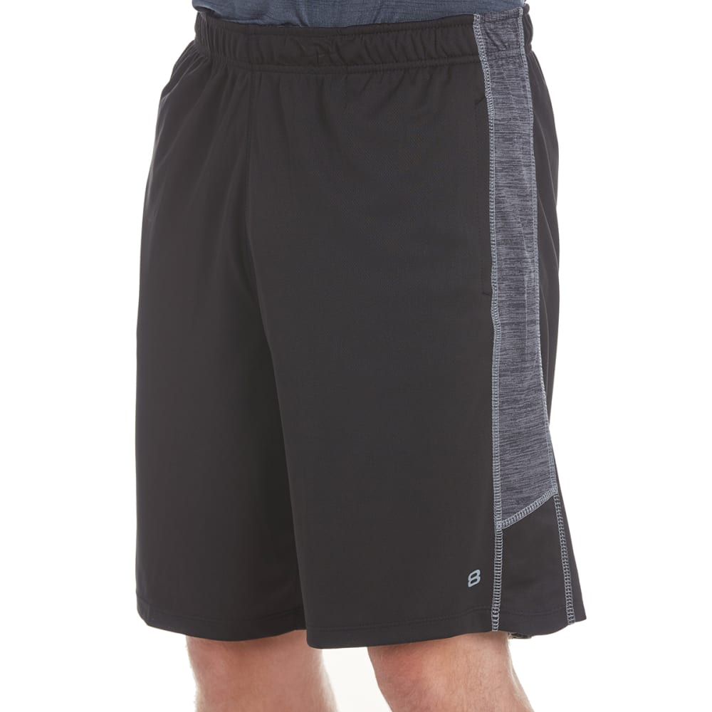 LAYER 8 Men's Training Shorts with Heather Panels - RICH BLACK/GREYSTONE