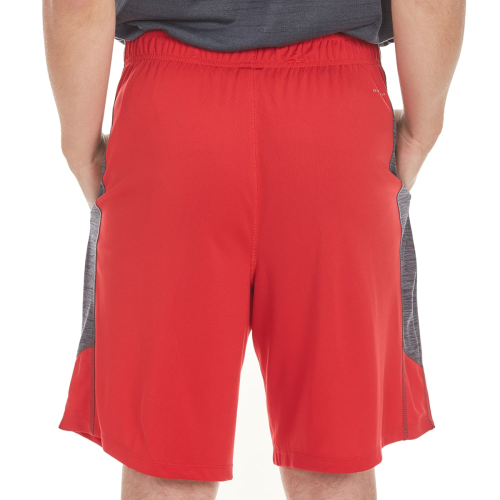LAYER 8 Men's Training Shorts with Heather Panels - RED/GREYSTONE