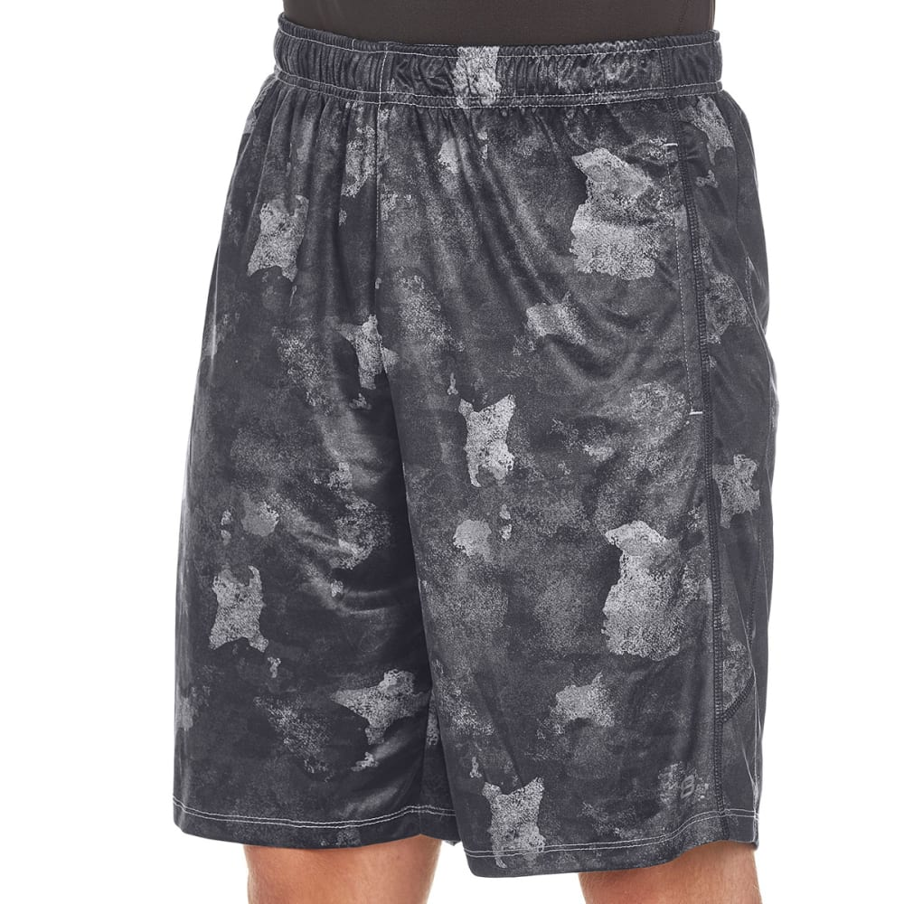LAYER 8 Men's Printed Training Shorts - BLACK/GREY PRINT-B/1