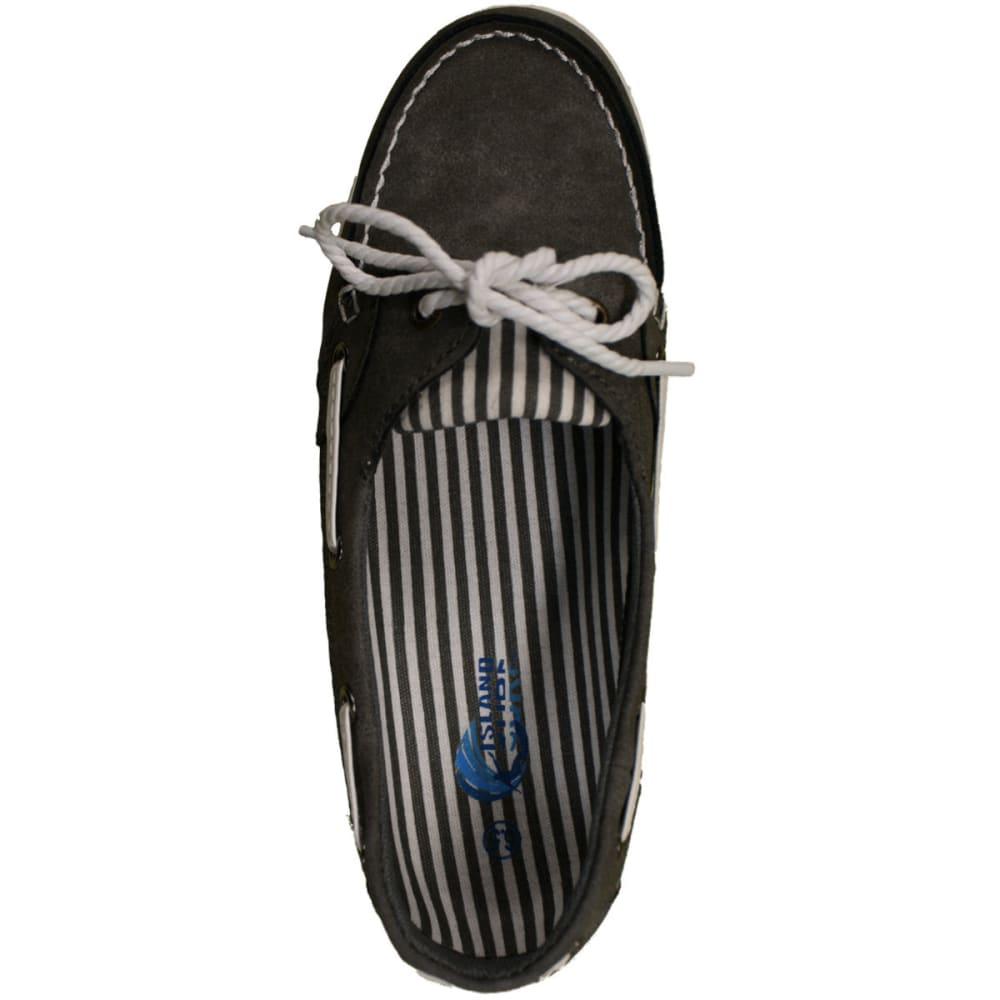 ISLAND SURF Women's Captiva Boat Shoes, Grey - GREY