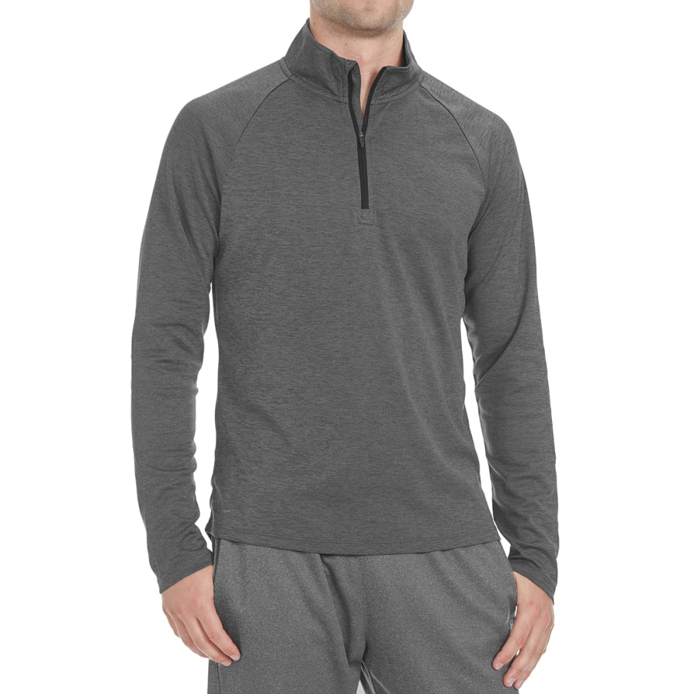 LAYER 8 Men's Heather ¼-Zip Layering Pullover - RICH BLACK-RCB