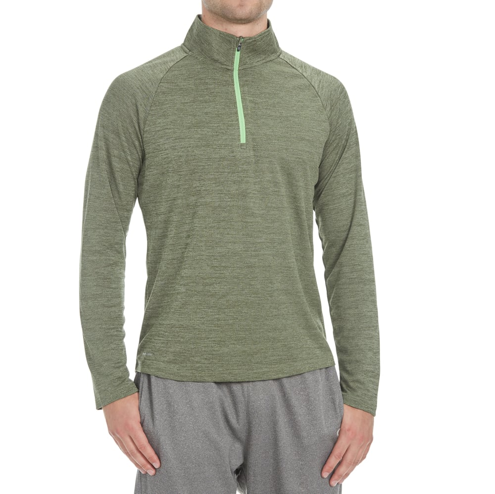 LAYER 8 Men's Heather ¼-Zip Layering Pullover - ARMY GREEN-AMG