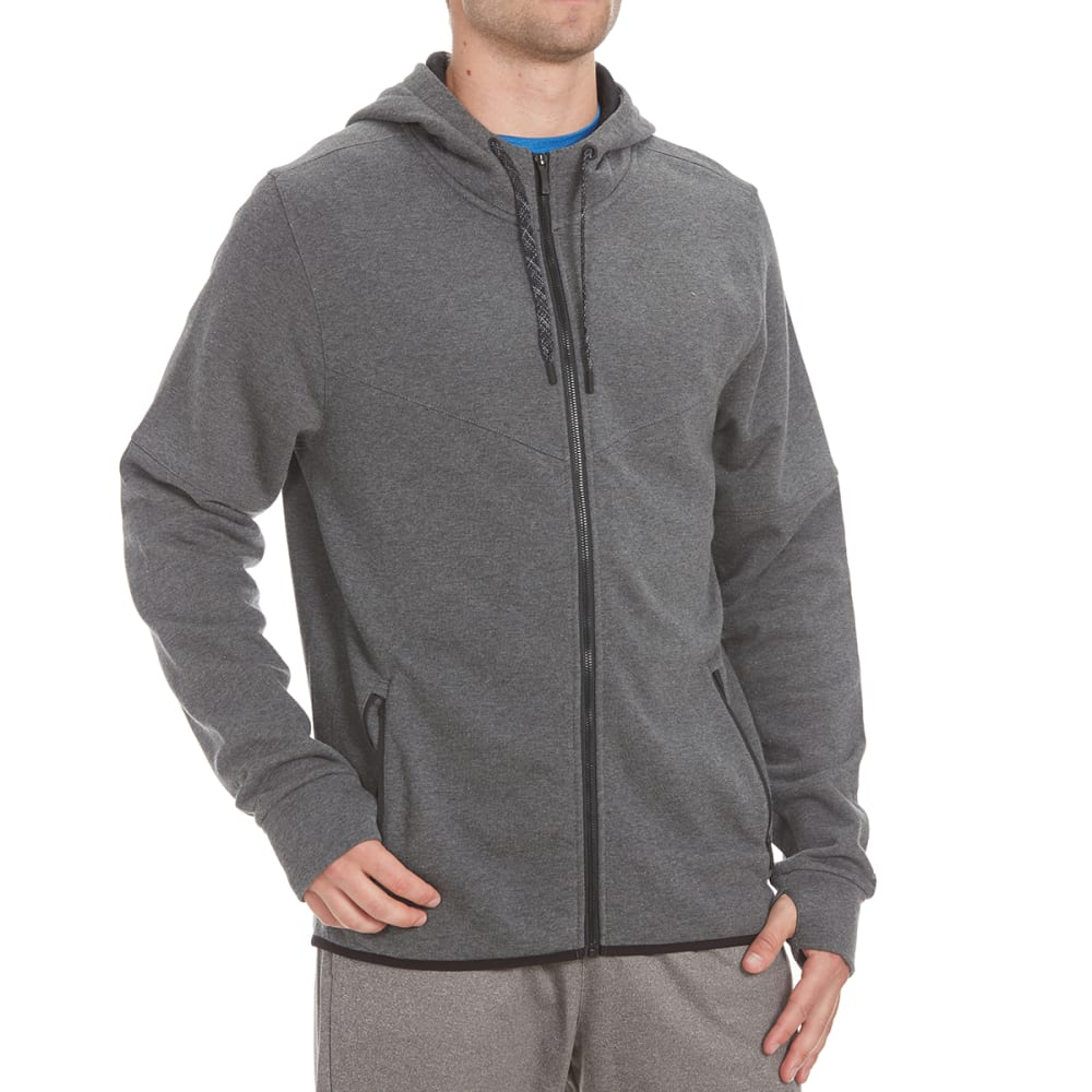LAYER 8 Men's CVC Fleece Training Full-Zip Hoodie - CHARCOAL HTHR-CHH