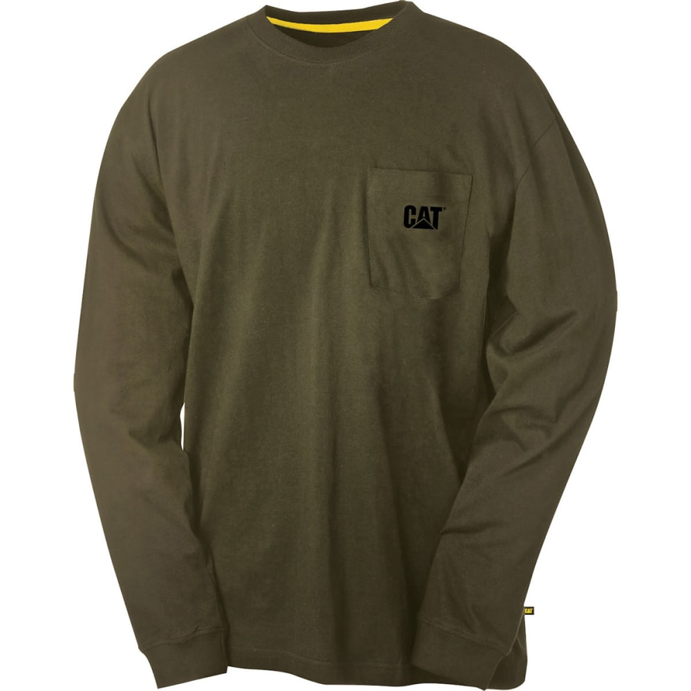 CATERPILLAR Men's Trademark Long-Sleeve Pocket Tee - Green, M