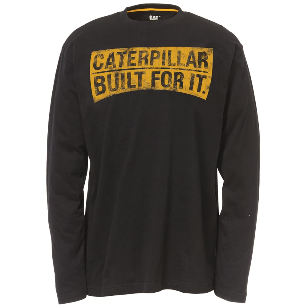 CAT Men's Long Sleeve Curved Banner Graphic Tee - 016 BLACK