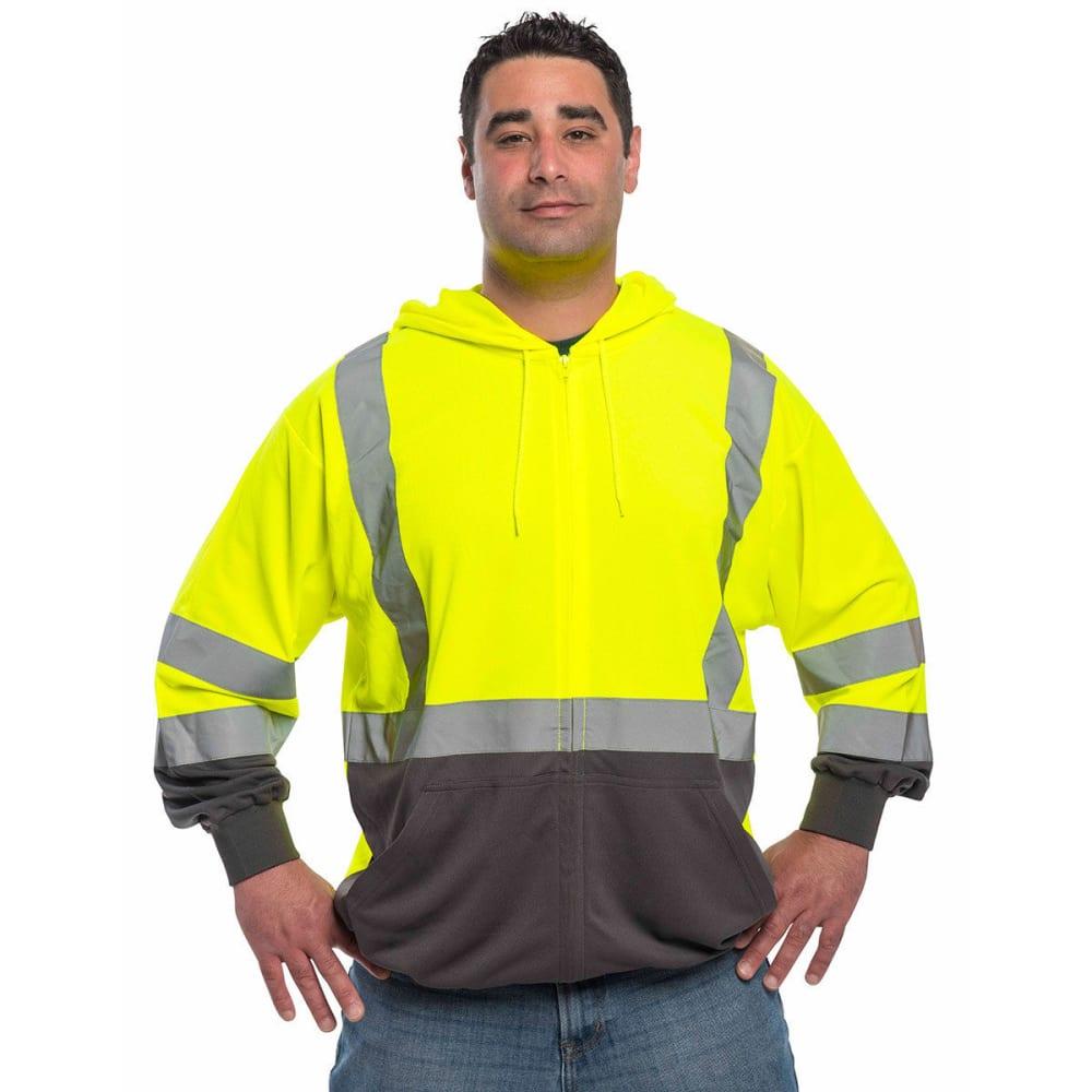 UTILITY PRO WEAR Men's Mesh Hooded Sweatshirt - FLORESSENT LIME