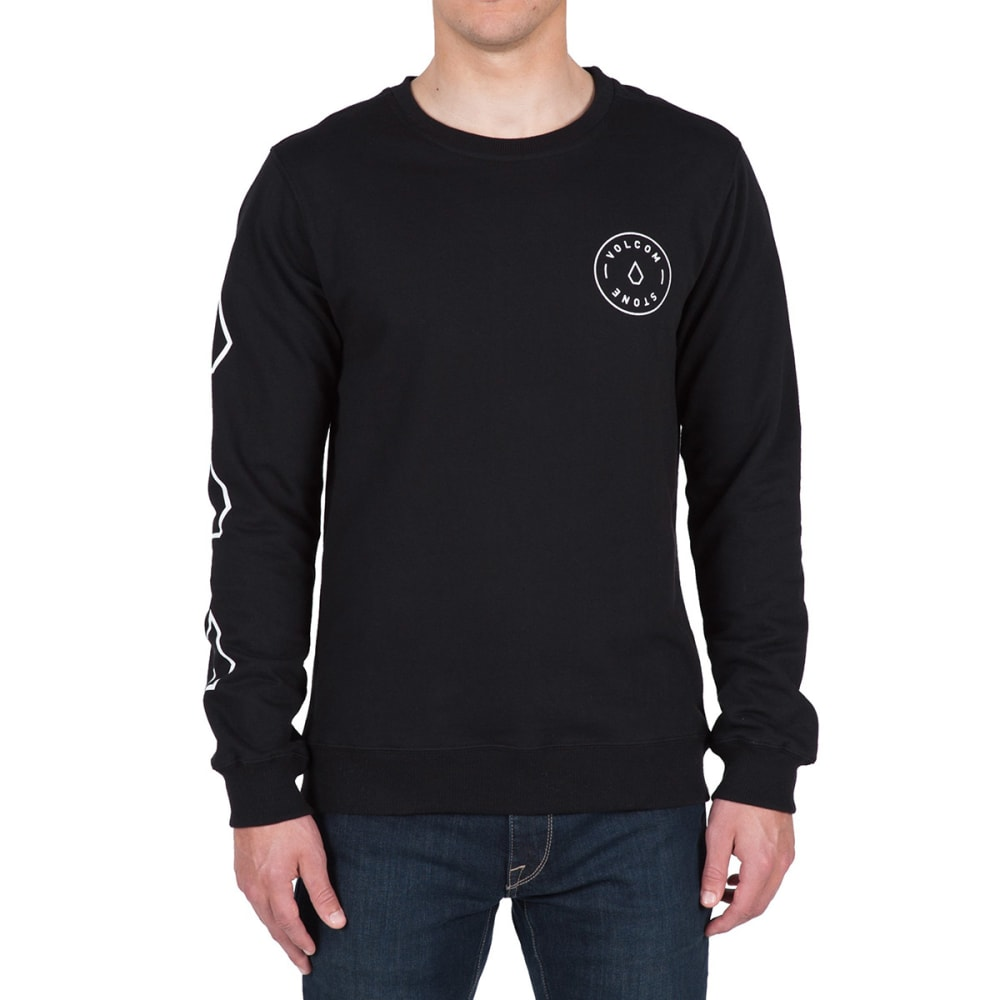 VOLCOM Guys' Vidette Crew Long-Sleeve Sweatshirt - BLACK- BLK