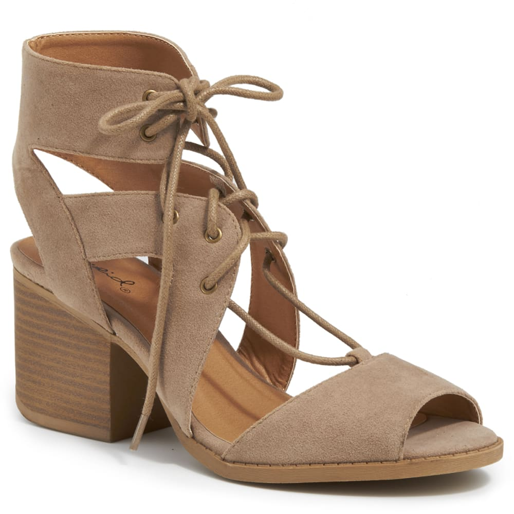 QUPID Women's Core-07 Ghillie Shoes - TAUPE