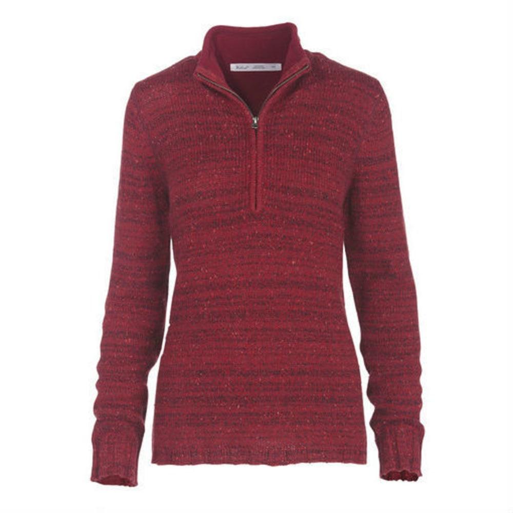 WOOLRICH Women's Tanglewood 3/4 Zip Sweater - WILDBERRY HEATHER