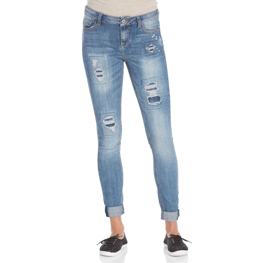 VANILLA STAR Juniors' Rip N Repair Destruction Rolled Ankle Jeans - -1A LEROY