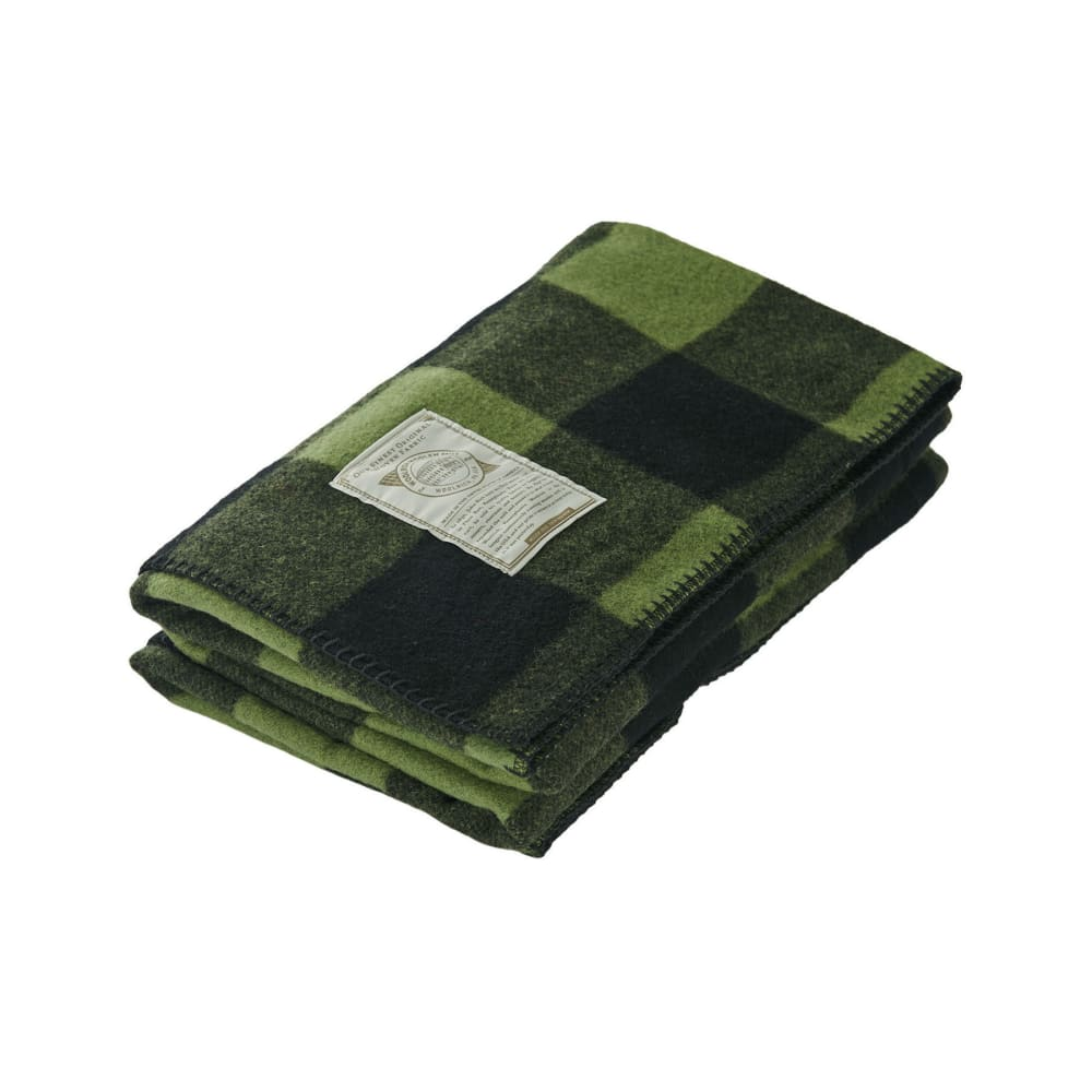 WOOLRICH Rough Rider Wool Blanket - GREEN BUFFALO