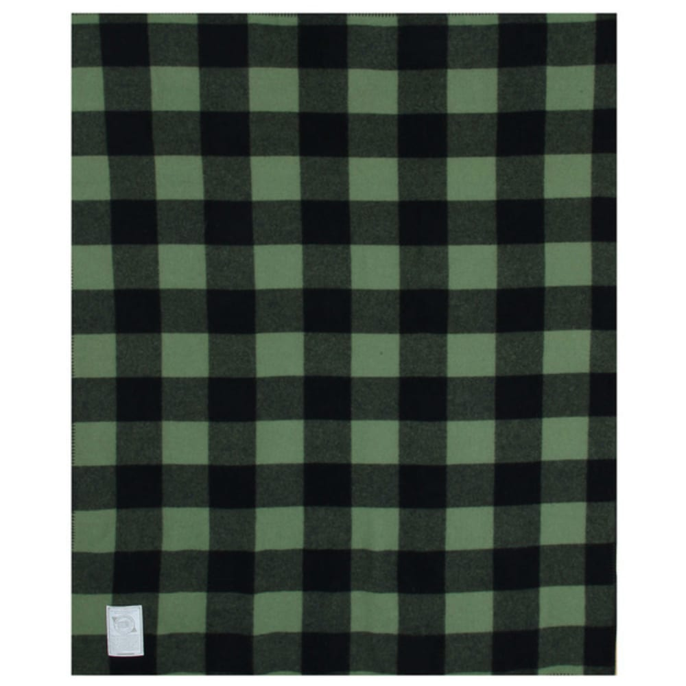 WOOLRICH Rough Rider Wool Blanket - GREEN BUFFALO