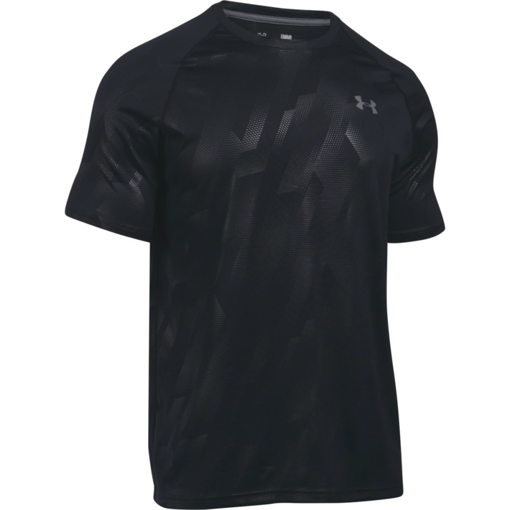 UNDER ARMOUR Men's UA Tech Patterned Running Short-Sleeve Shirt - BLACK/GRAPHITE-018