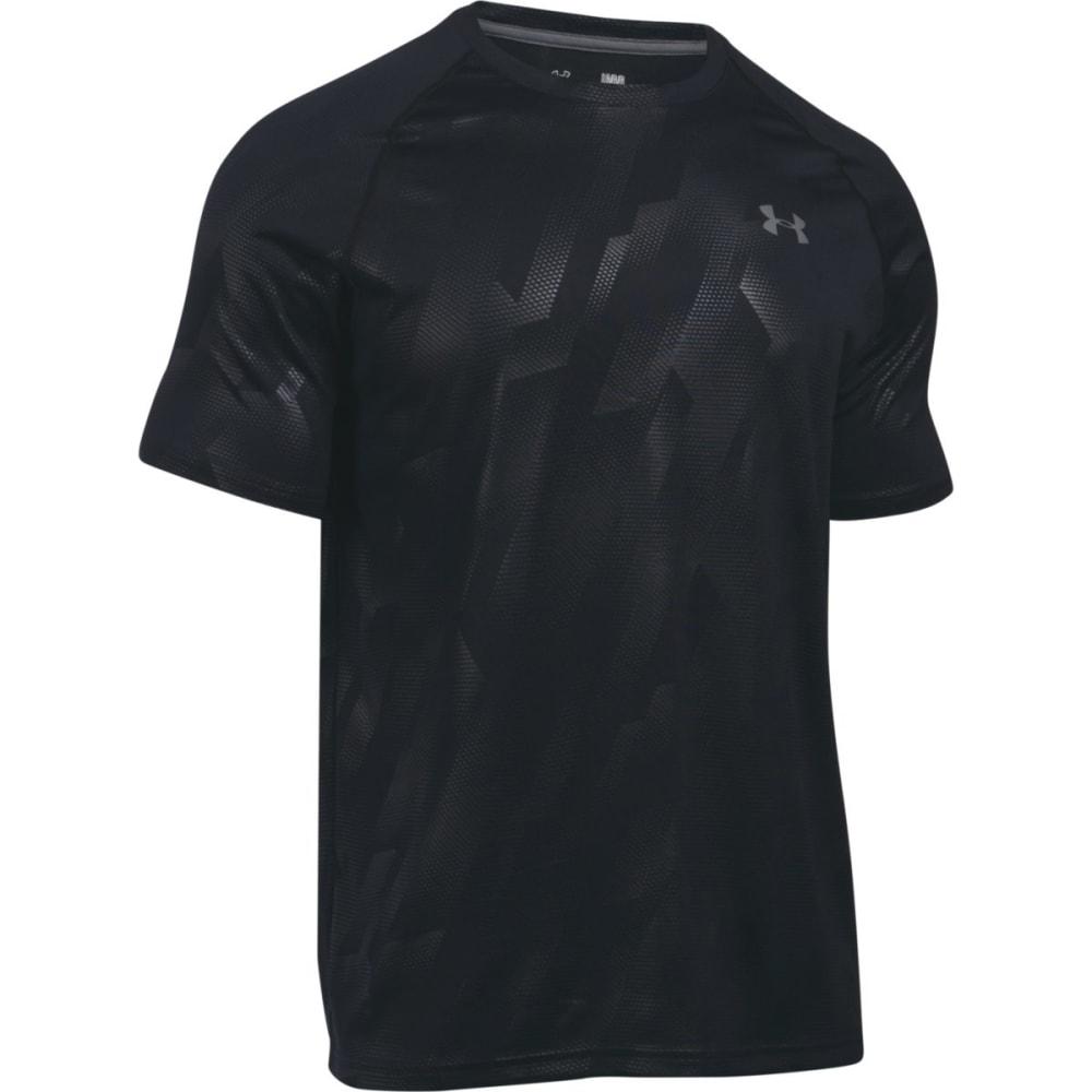 UNDER ARMOUR Men's UA Tech Patterned Running Short-Sleeve Shirt - BLACK/GRAPHITE-018