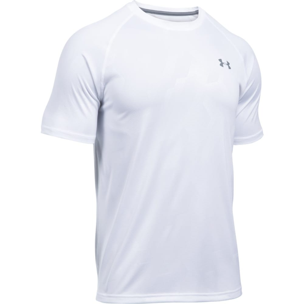 UNDER ARMOUR Men's UA Tech Patterned Running Short-Sleeve Shirt - WHITE/STEEL-108
