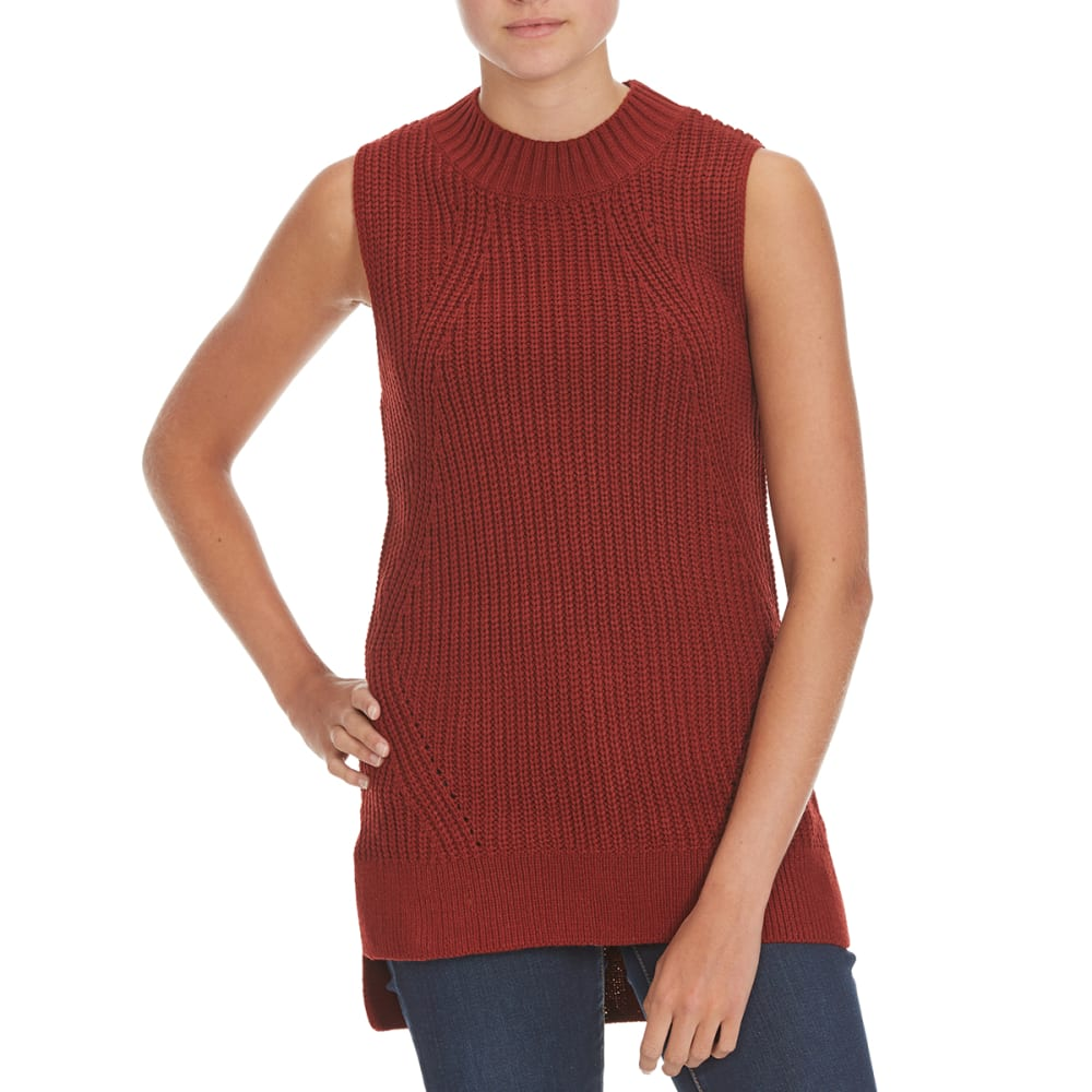 PINK ROSE Juniors' Sleeveless Mock Neck Tunic Top - SPICED RUM