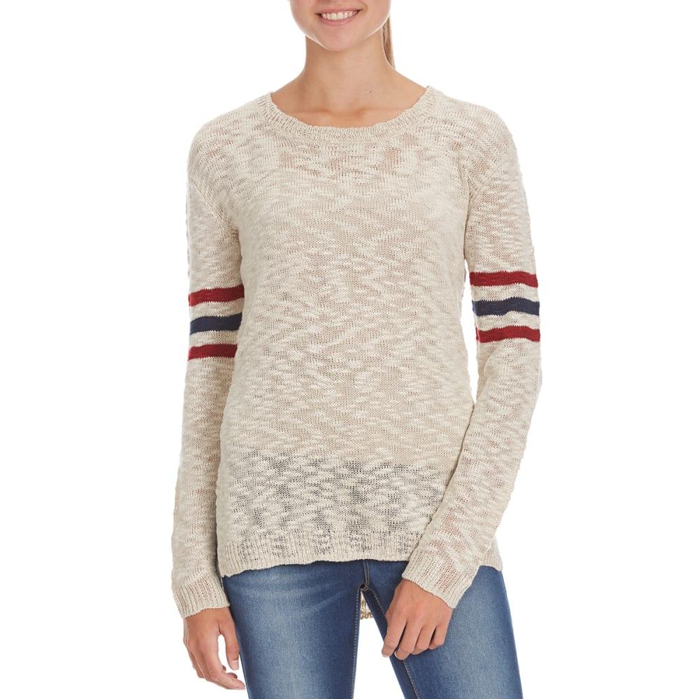 PINK ROSE Juniors' Stripe Slub Drop Shoulder Pullover - NARNIA WHITE COMBO