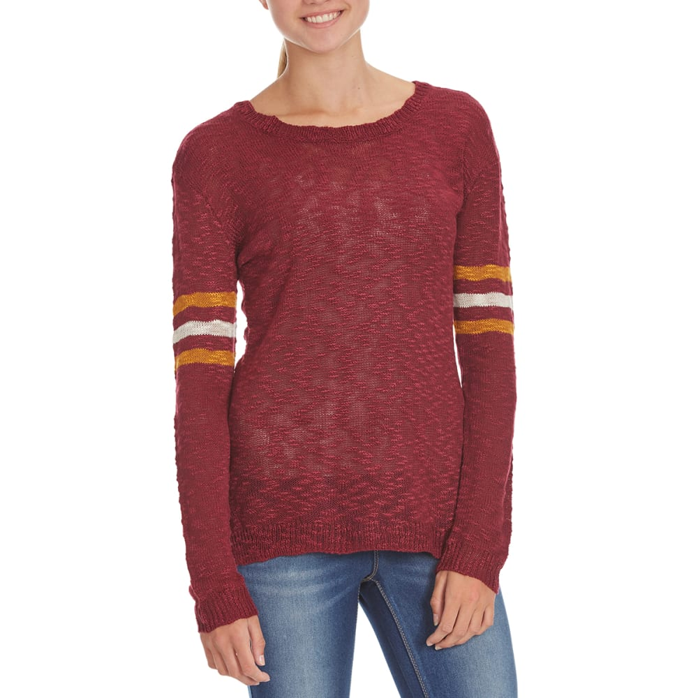 PINK ROSE Juniors' Stripe Slub Drop Shoulder Pullover - RETRO MAROON COMBO