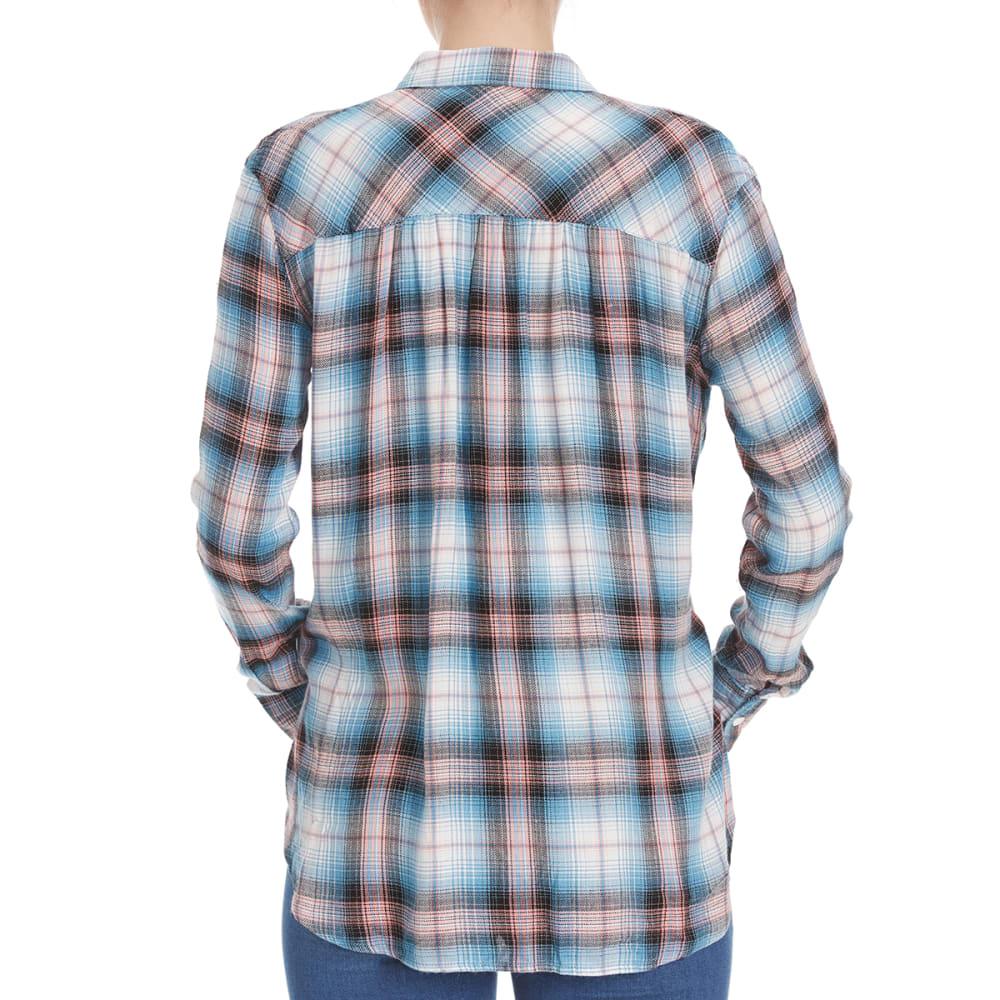 PINK ROSE Juniors' Herringbone Plaid Tie-Front Shirt - BLUE/CLAY COMBO
