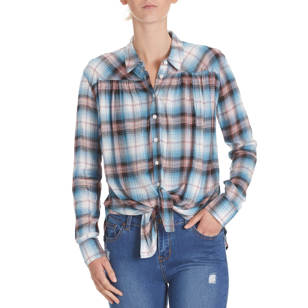 PINK ROSE Juniors' Herringbone Plaid Tie-Front Shirt - BLUE/CLAY COMBO
