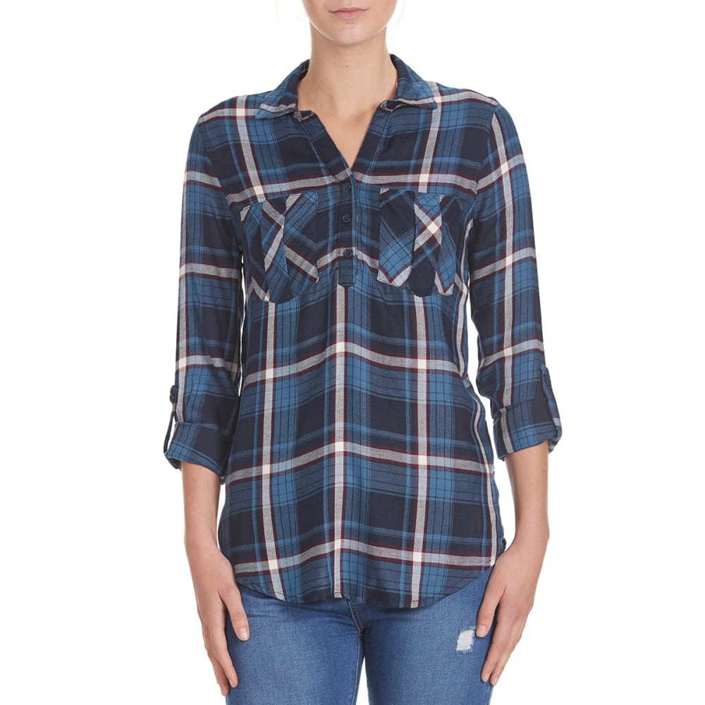 PINK ROSE Juniors' Two-Pocket Popover Rayon Flannel Shirt - BLUE/BURG COMBO