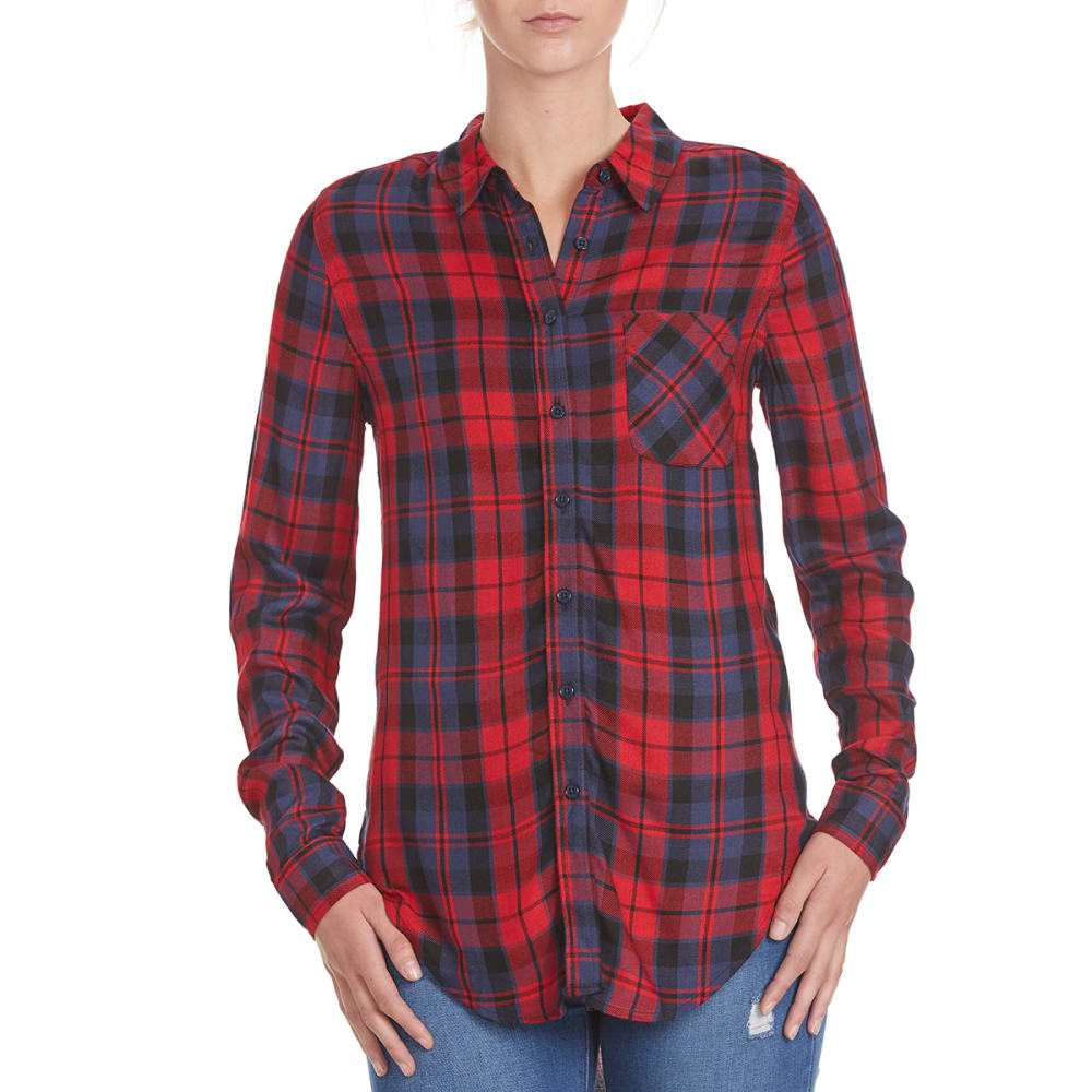 PINK ROSE Juniors' Plaid Flannel 1-Pocket Tunic Top - RED/BLUE COMBO