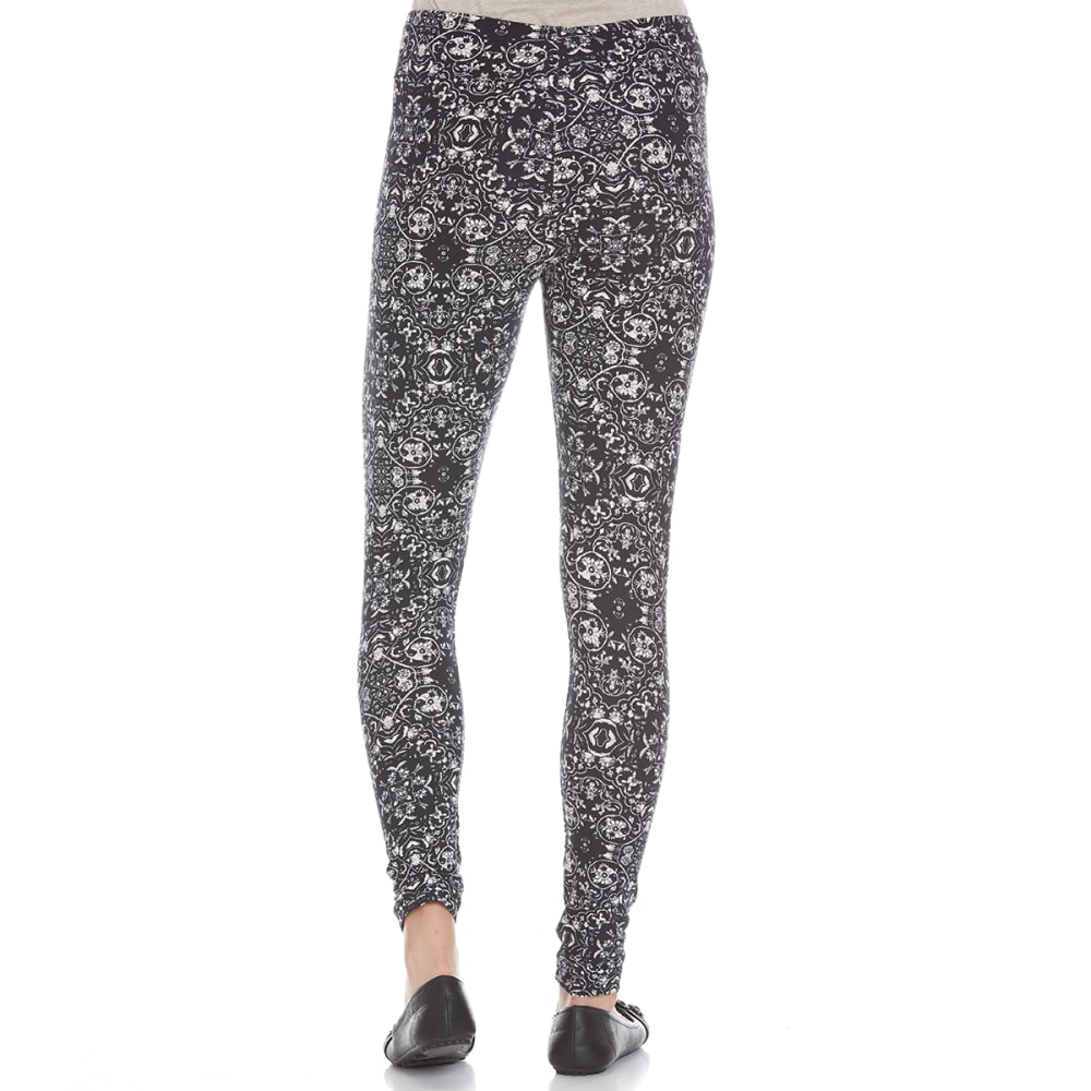 PINK ROSE Juniors' Printed Peached Leggings - BLACK/IVORY TILE