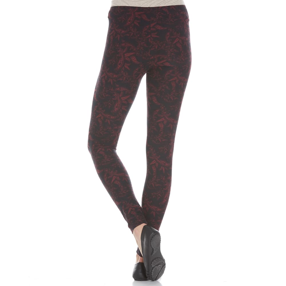 PINK ROSE Juniors' Printed Peached Leggings - BLACK/BURG PAISLEY