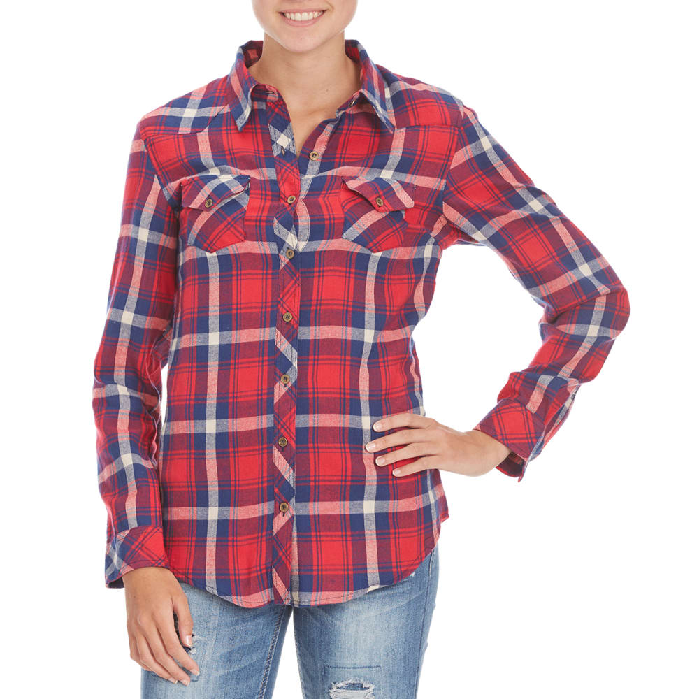 ANGIE Juniors' Western Two-Pocket Flannel Shirt - NC70 RED/BLUE